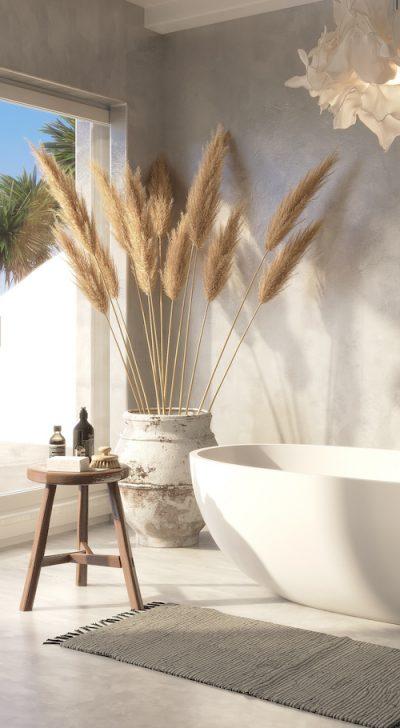3d Mediterranean Greek island style bathroom with a bathtub and a view to the aegean sea